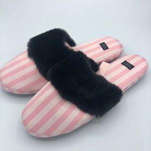 NWT Victoria Secret Pink Striped Faux Fur Slippers